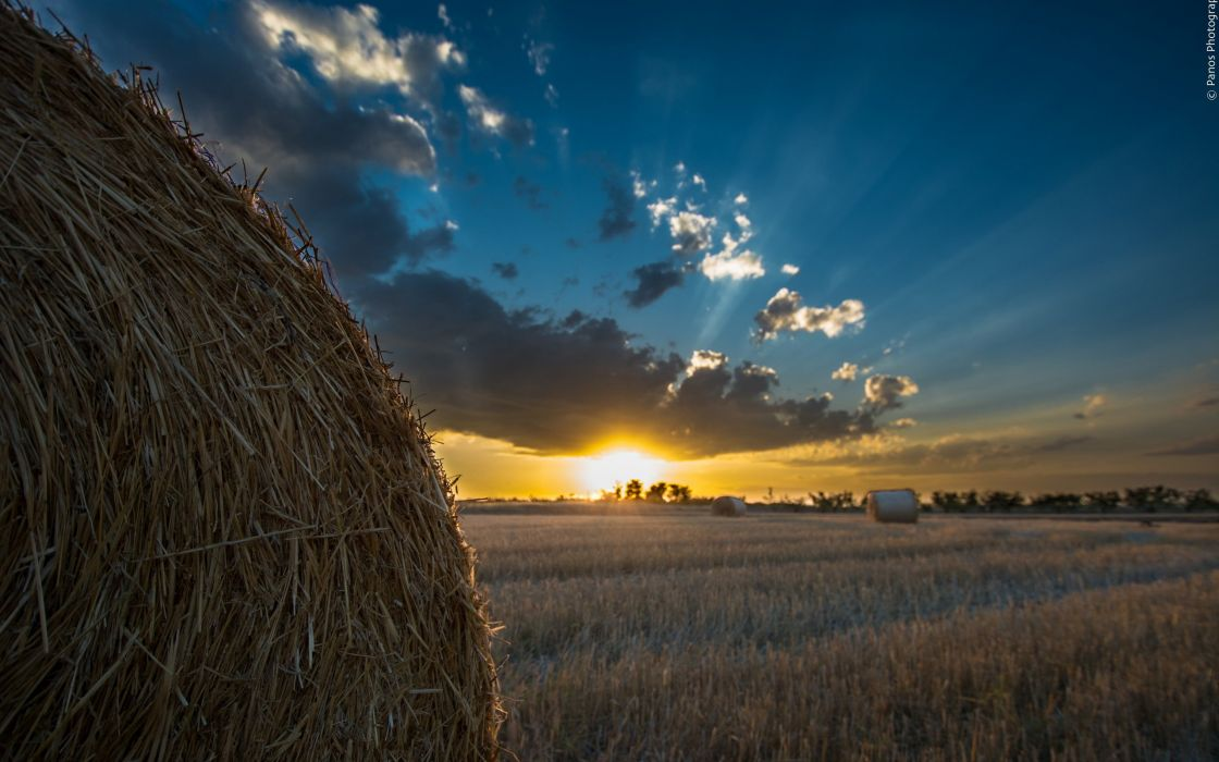 Sunrises and sunsets Sky Fields Hay Nature wallpaper