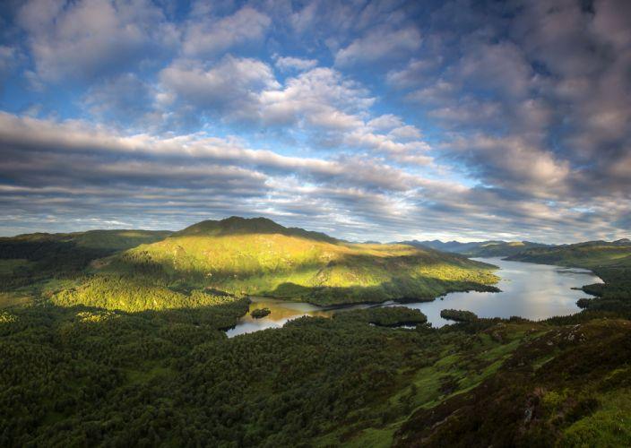 Scotland Scenery Lake Sky Clouds Loch Katrine Nature wallpaper