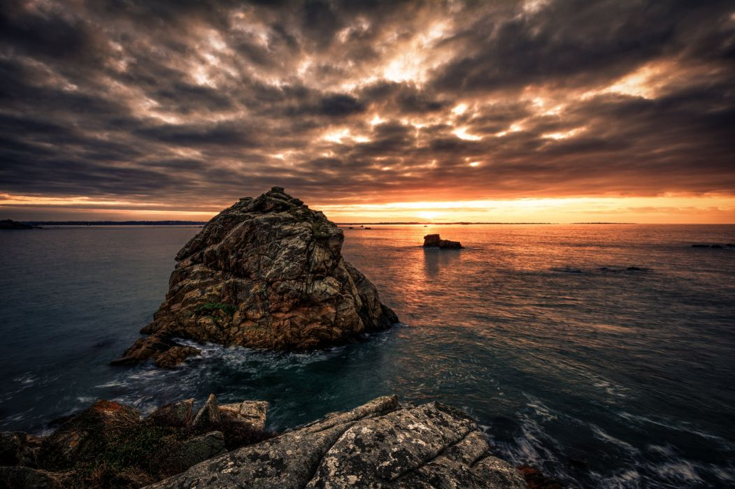 Scenery Sunrises and sunsets Sea Crag Clouds Nature wallpaper