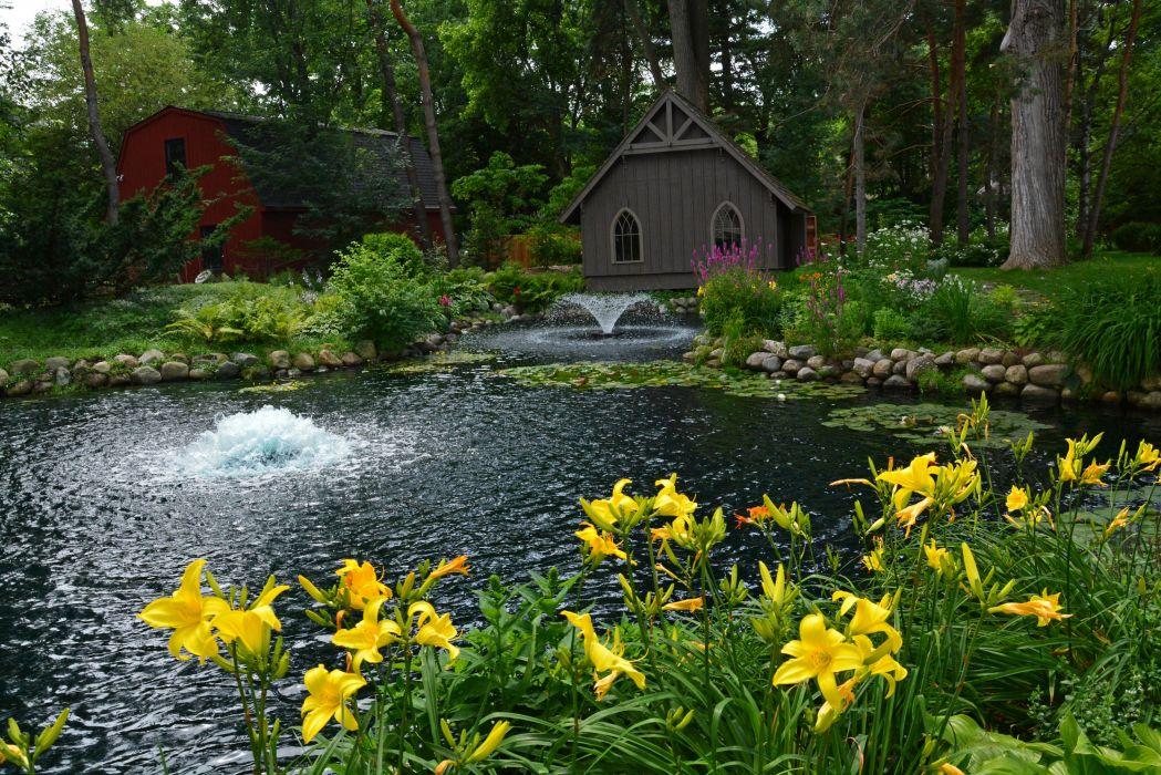 USA Parks Pond Fountains Lilies Trees Detroit Garden Nature wallpaper