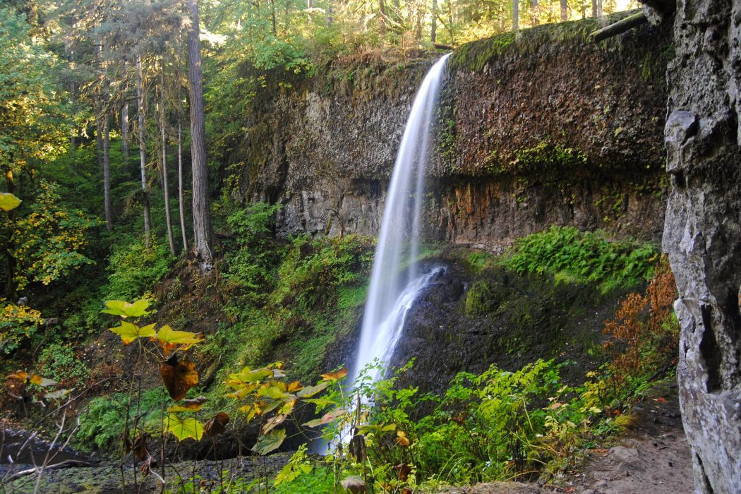 USA Parks Waterfalls Crag Silver Falls State Park Nature wallpaper