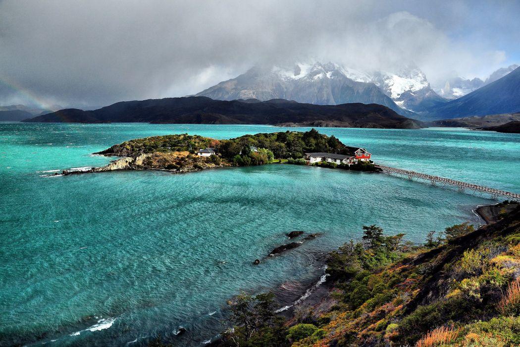 Chile Lake Mountains Island Coast Bridges Pehoe Lake Patagonia Nature wallpaper