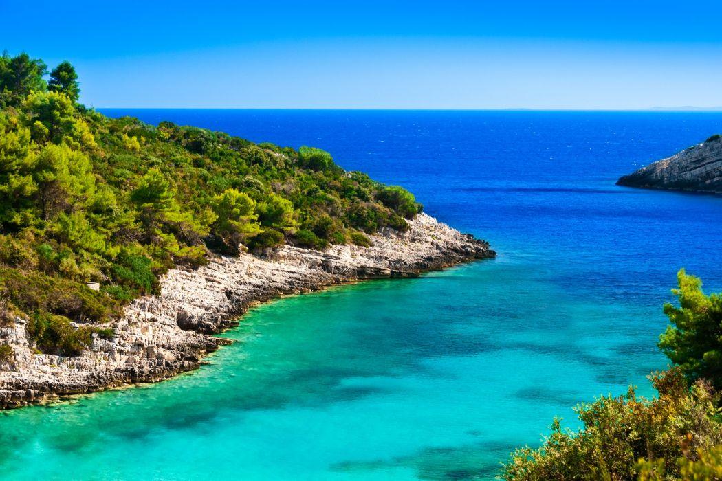 Croatia Coast Sea Shrubs Nature wallpaper