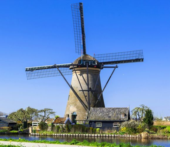 Netherlands Rivers Houses Mill Nature wallpaper