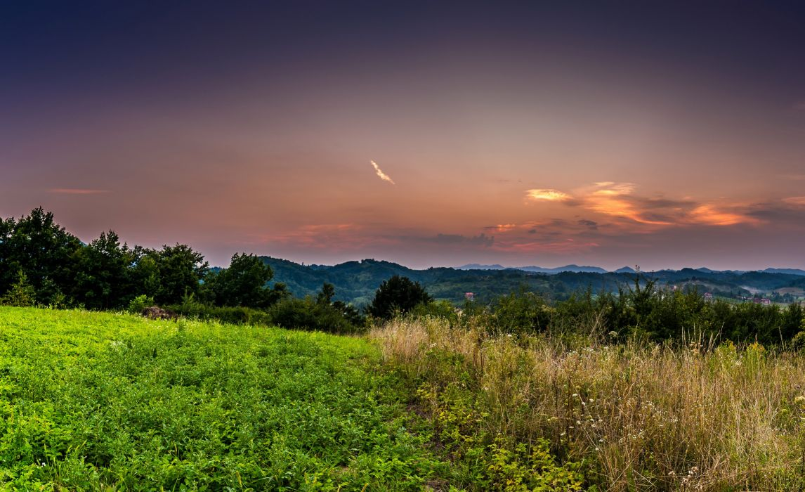Scenery Sunrises and sunsets Sky Grass Nature wallpaper