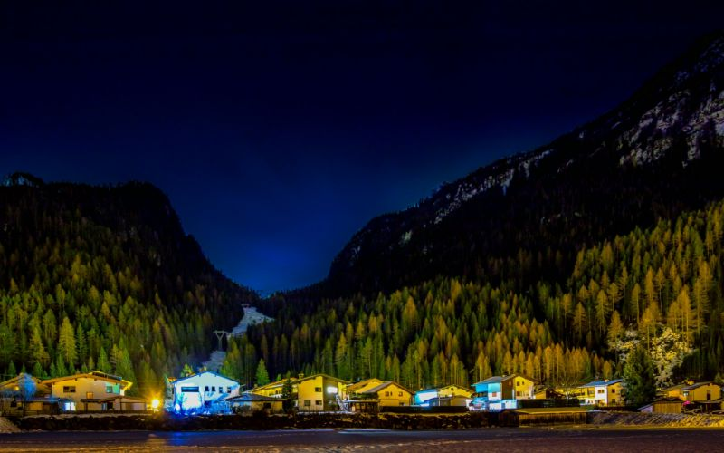 Austria Mountains Forests Houses Night Huben Tyrol Nature wallpaper