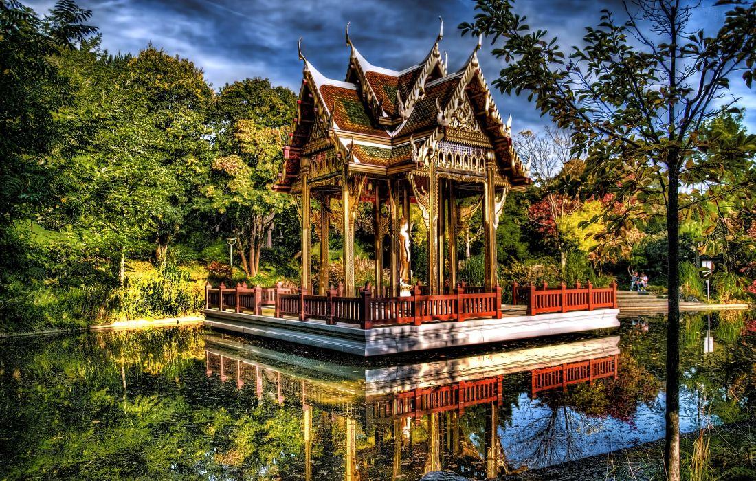 Germany Gardens Pond Pagodas Trees HDR Sendling-Westpark Munich Nature wallpaper