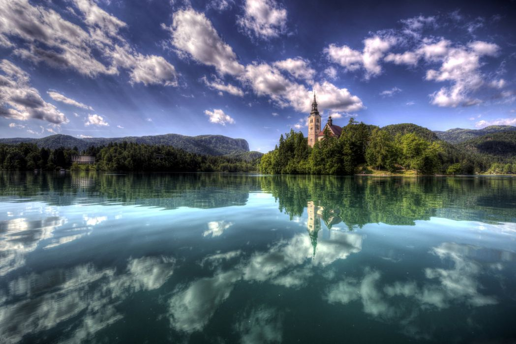 Slovenia Scenery Lake Sky Clouds Bled Island Nature wallpaper