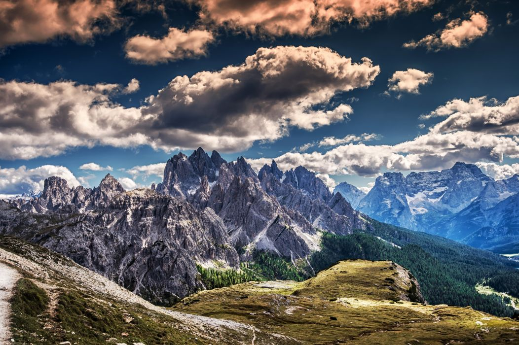 Scenery Mountains Sky Clouds HDR Nature wallpaper