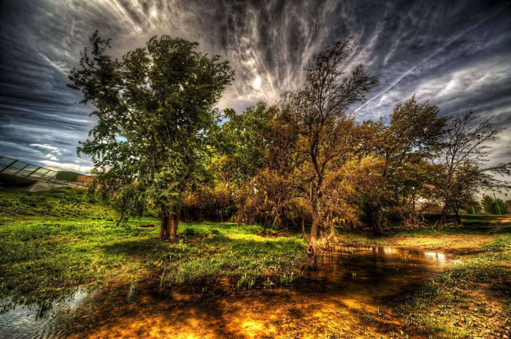 Spain Water HDR Trees Grass Clouds Zaragoza Nature wallpaper