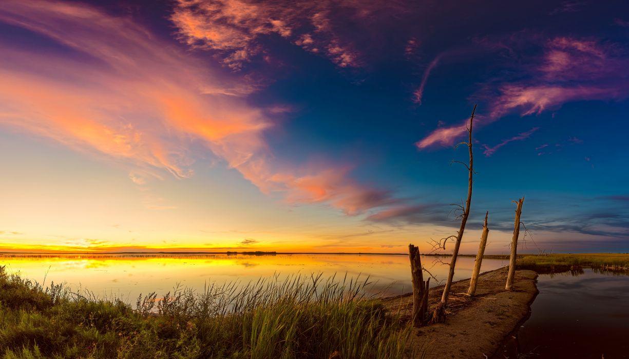 Sunrises and sunsets Scenery Lake Sky Nature wallpaper