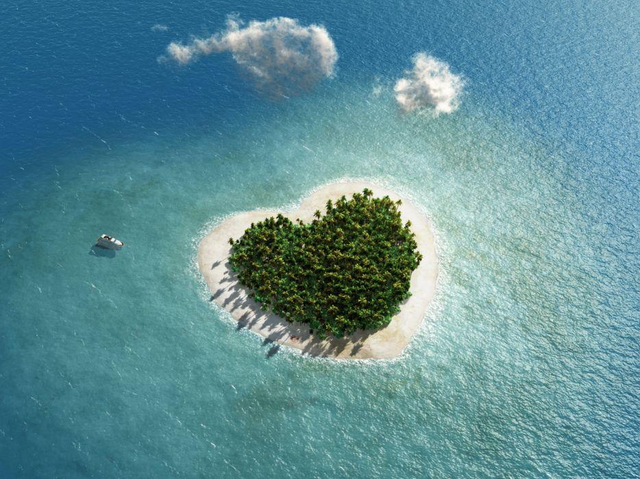 Tropics Sea Island From above Heart Nature wallpaper