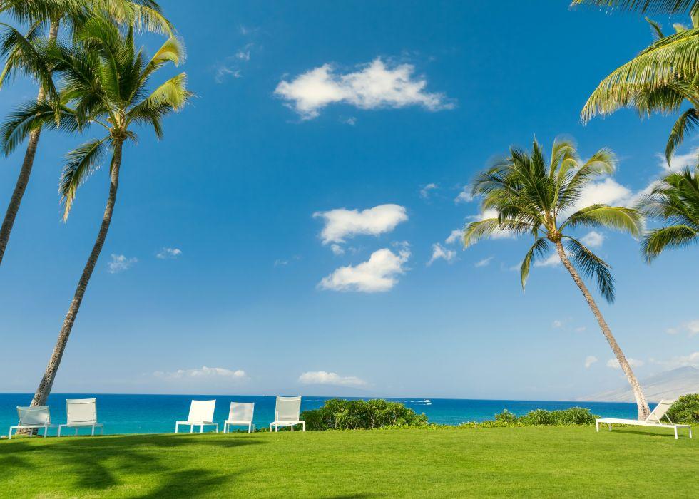 Tropics Coast Sky Scenery Palma Grass Chairs Nature wallpaper