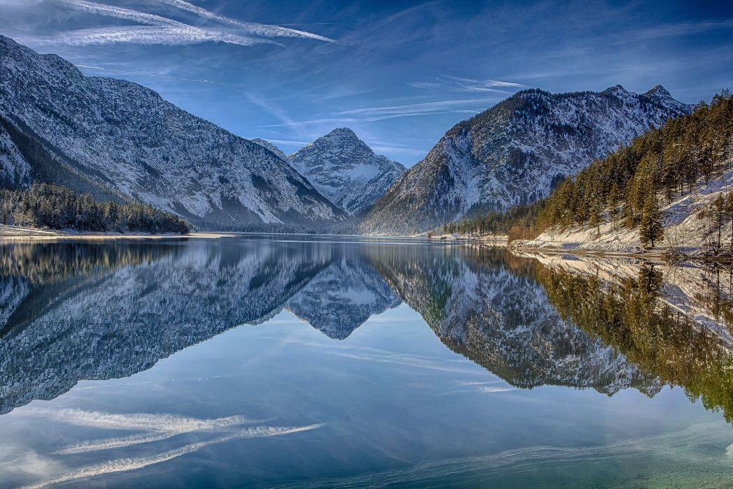 Austria Mountains Lake Scenery Lake Plansee Tirol Alps Nature wallpaper