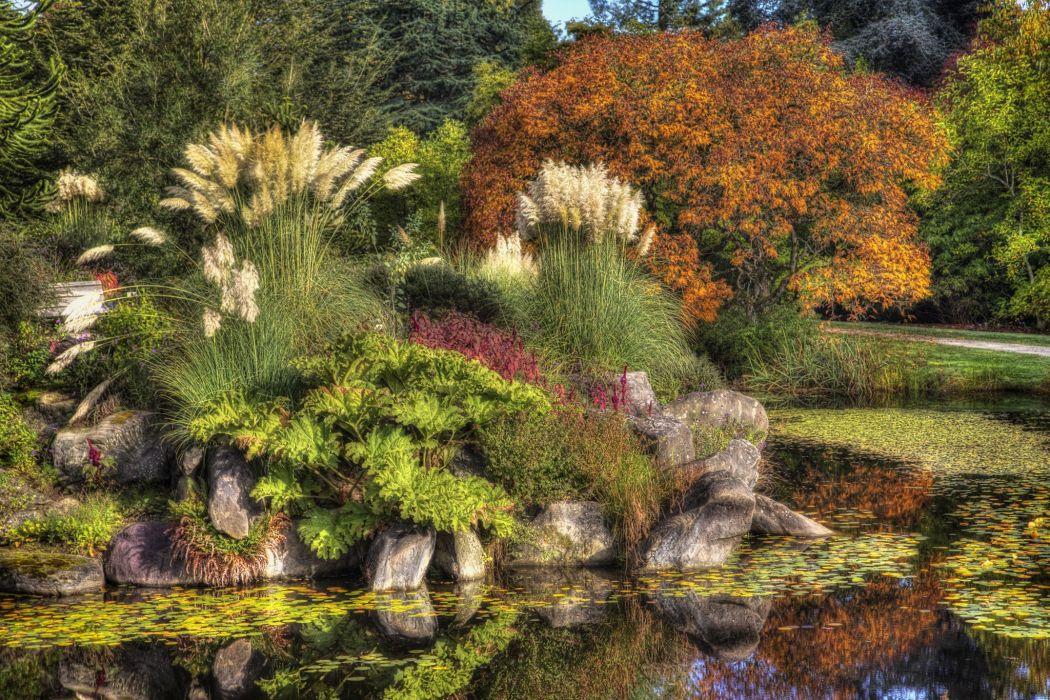 Canada Gardens Pond Stones Vancouver Trees Shrubs VanDusen Botanical Garden Nature wallpaper
