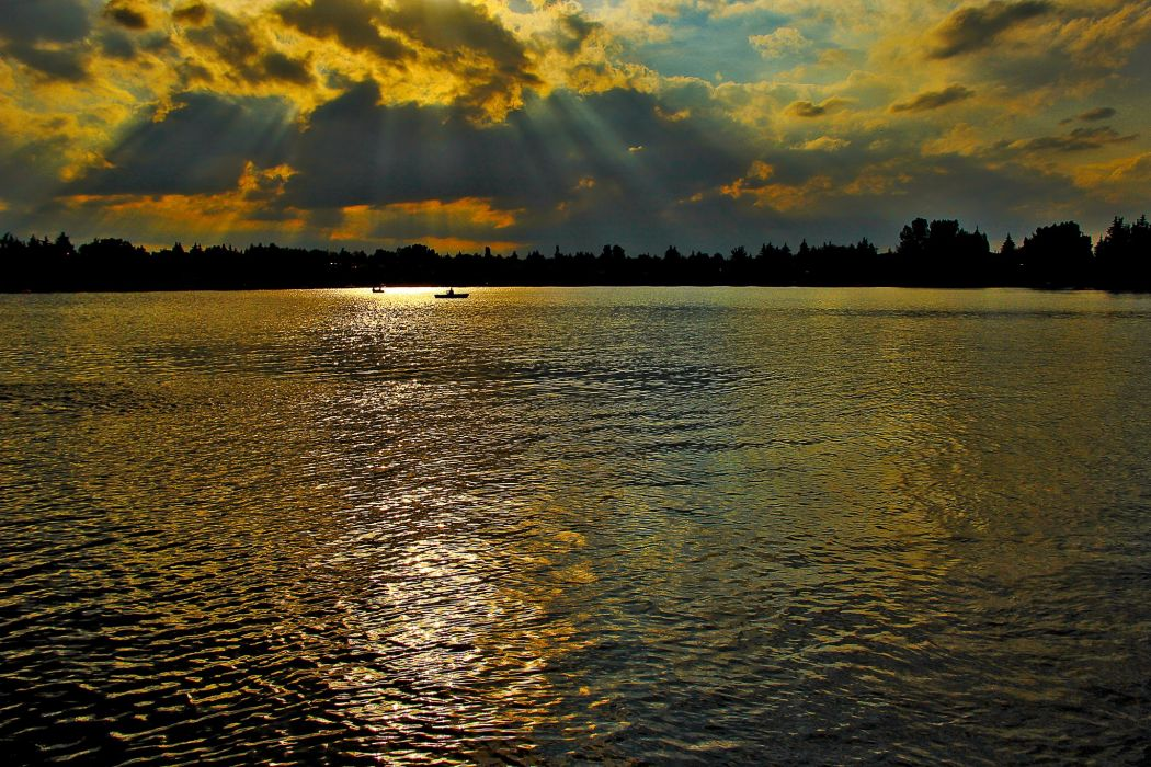 Canada Sunrises and sunsets Rivers Sky Clouds Midnapore Calgary Nature wallpaper