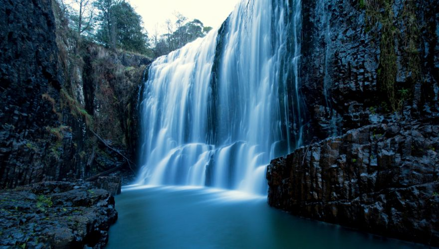Australia Waterfalls Crag West Ridgley Tasmania Nature wallpaper