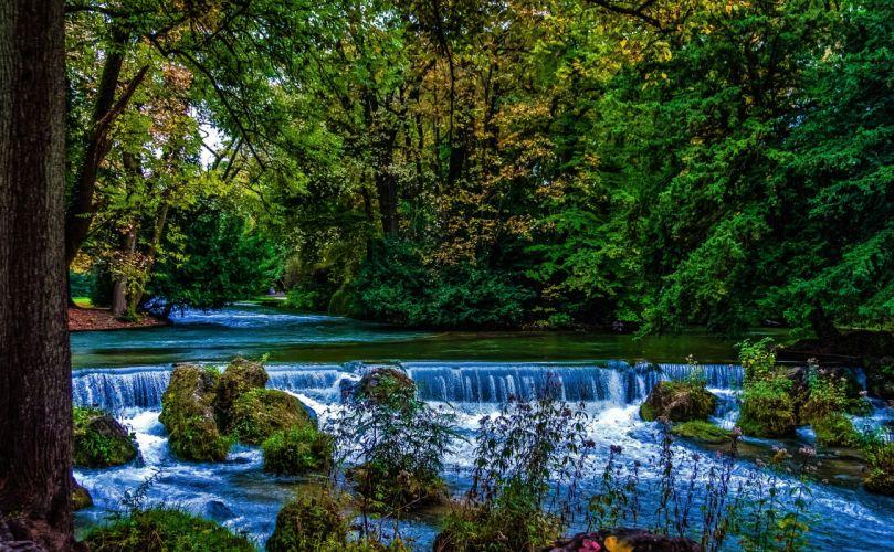 Germany Parks Waterfalls Bavaria Trees Moss Munich Nature wallpaper