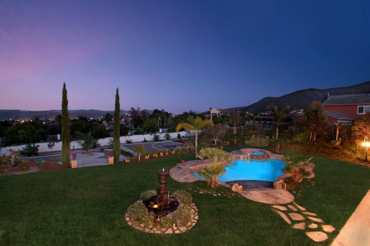 Scenery Evening Pools Lawn Fireplace Nature wallpaper