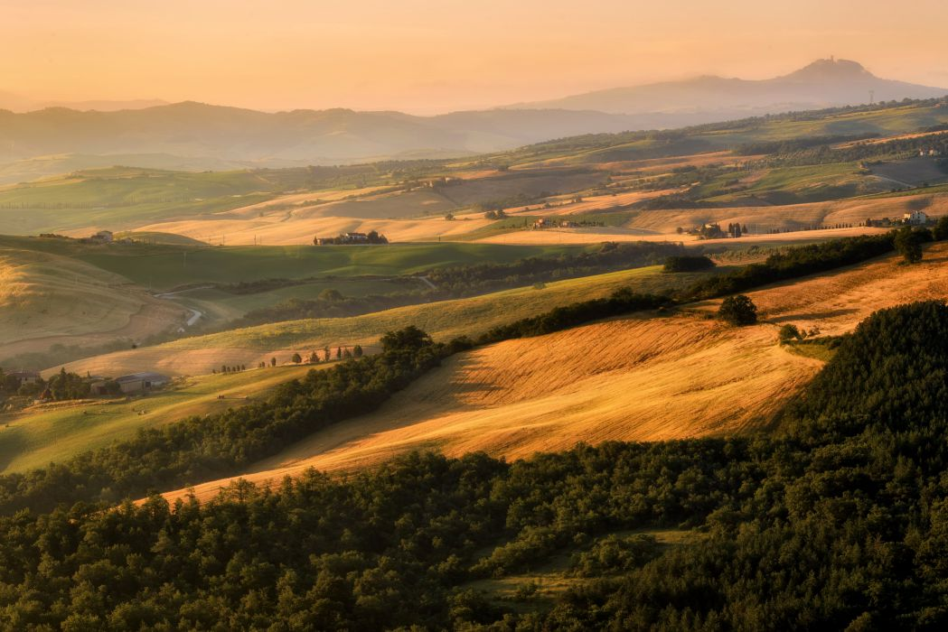 Italy Scenery Fields Grasslands Forests Tuscany Nature wallpaper