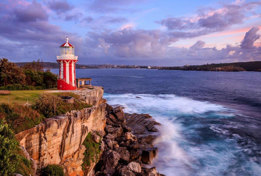 Scenery Australia Sea Lighthouses Coast Stones Sydney Clouds Hornby Lighthouse Nature wallpaper
