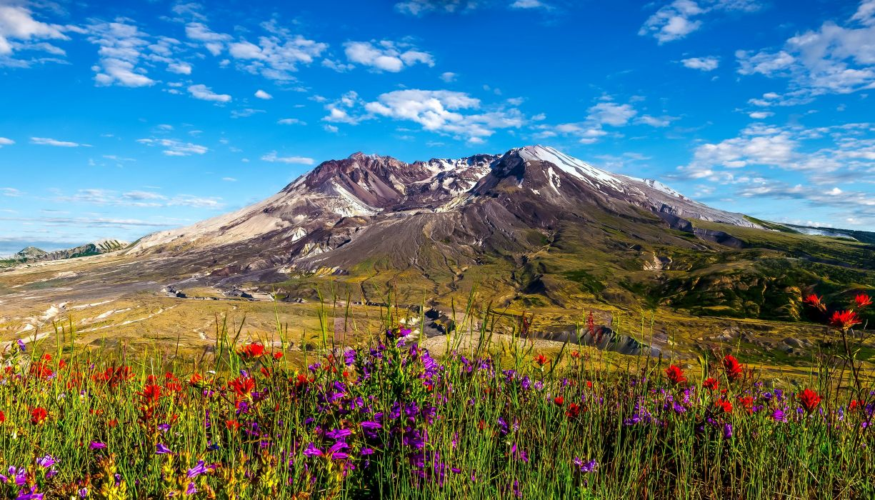 USA Mountains Sky Fields Washington Mount St Helens Nature wallpaper