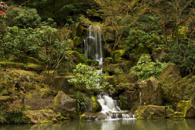 USA Parks Waterfalls Stones Moss Portland Japanese Gardens Oregon Nature wallpaper