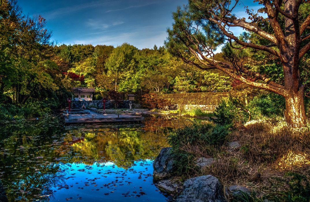 Germany Parks Pond Bavaria HDR Trees Sendling-Westpark Munich Nature wallpaper