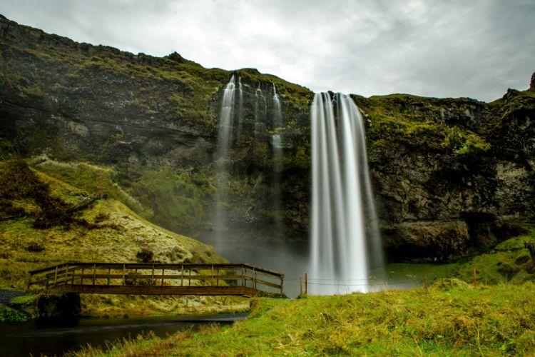 Iceland Waterfalls Bridges Crag Seljalandsfoss Nature wallpaper