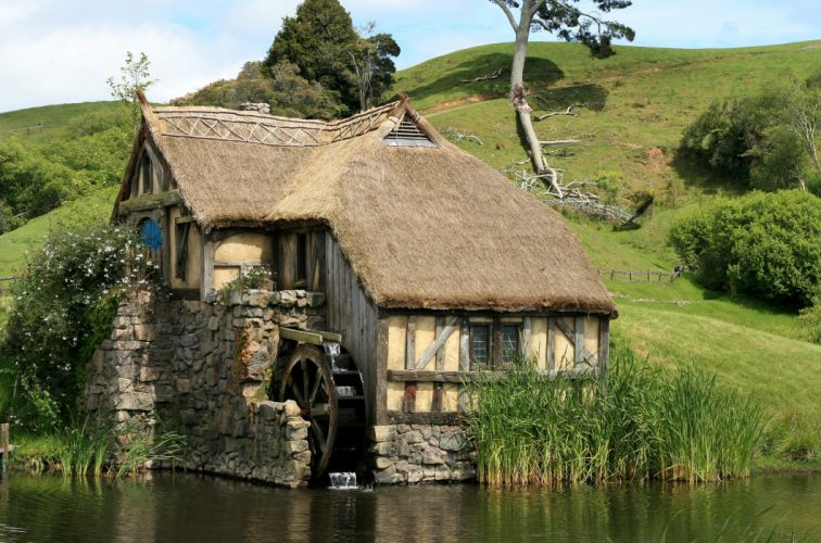New Zealand Parks Houses Pond Matamata Hobbiton Park Nature wallpaper
