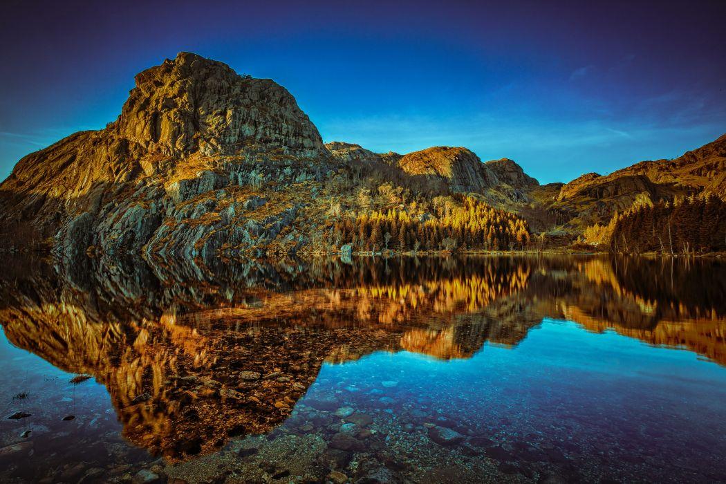 Norway Mountains Lake Rogaland Nature wallpaper
