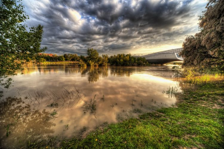 Scenery Spain Rivers Bridges Sky HDR Clouds Zaragoza Aragon Nature wallpaper