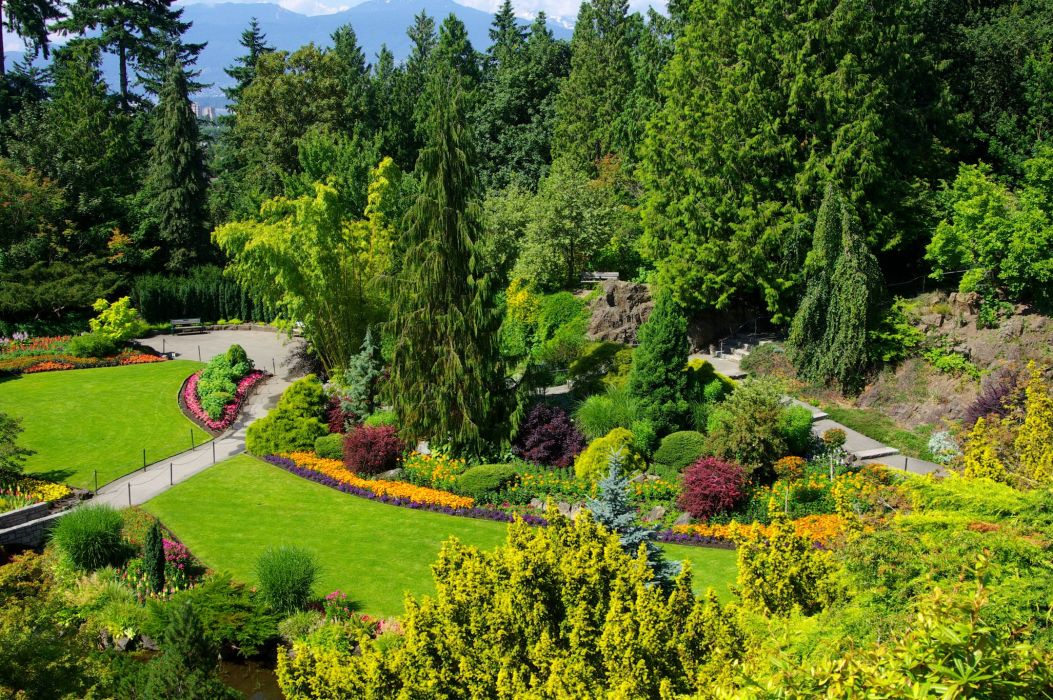 Canada Gardens Vancouver Trees Shrubs Lawn Queen Elizabeth Garden Nature wallpaper