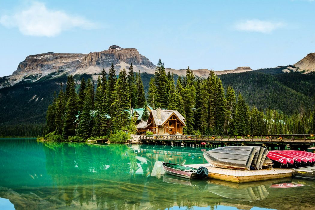 Canada Parks Mountains Lake Marinas Boats Houses Fir Yoho Nature wallpaper
