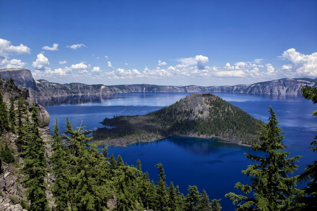 Canada Scenery Parks Lake Mountains Sky Fir Crater Lake National Park Nature wallpaper
