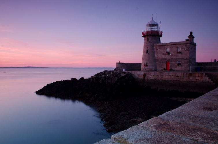 Ireland Lighthouses Sea Coast Evening Howth Nature wallpaper