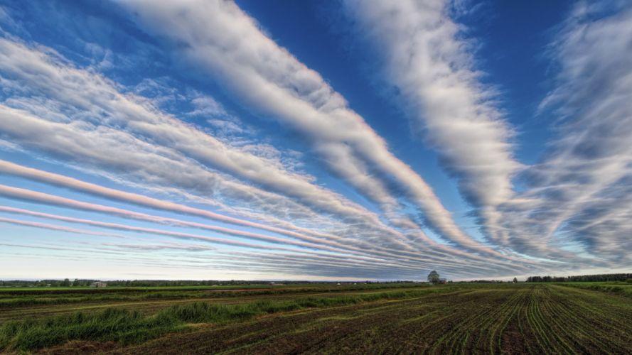 Sky Fields Clouds Nature wallpaper
