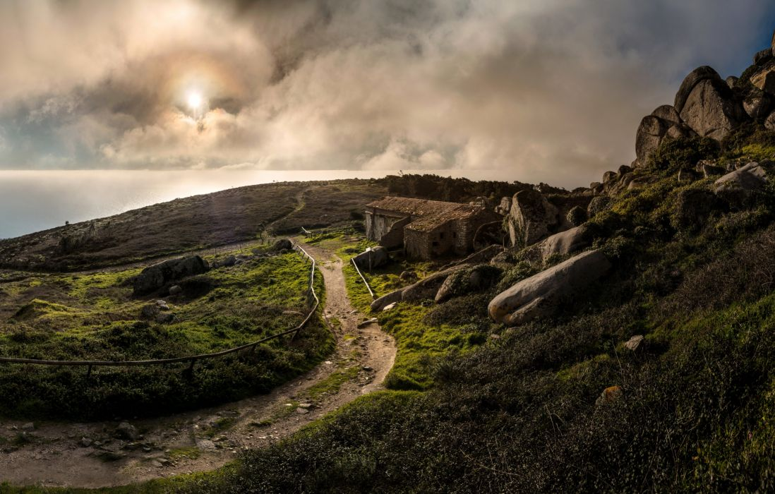 Portugal Trail Clouds Biscaia Lisbon Nature wallpaper