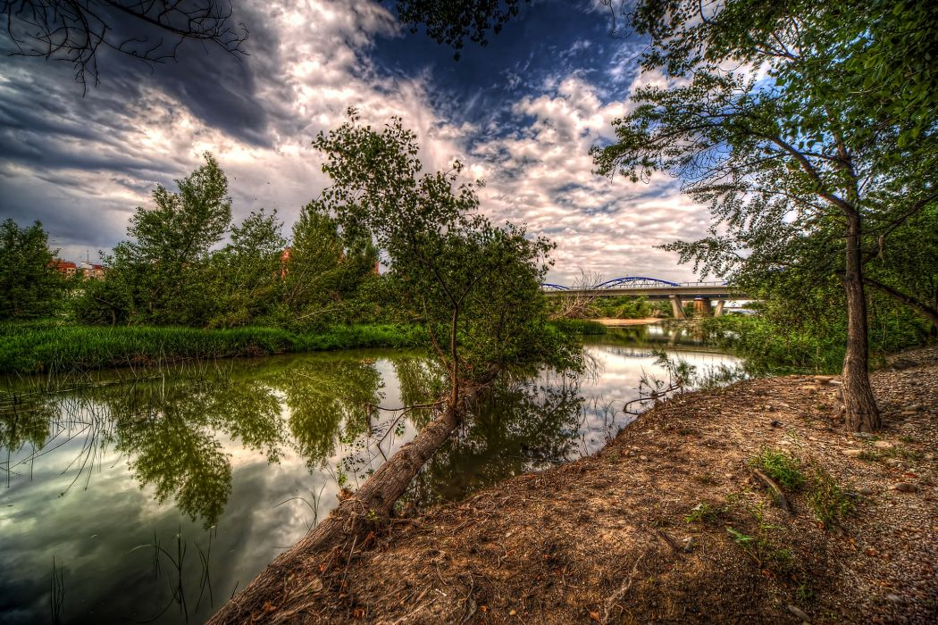 Spain Rivers HDR Trees Clouds Zaragoza Aragon Nature wallpaper