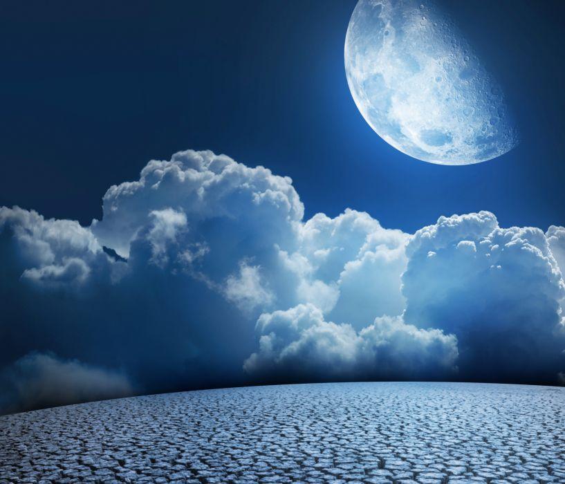 Sky Moon Clouds wallpaper
