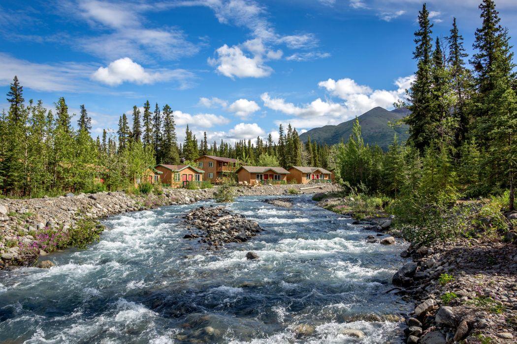 USA Scenery Rivers Houses Sky Trees Denali Borough Alaska Nature wallpaper