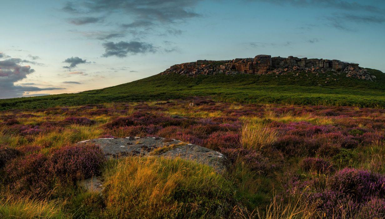 United Kingdom Parks Lavandula Stones Peak District National Park Nature wallpaper