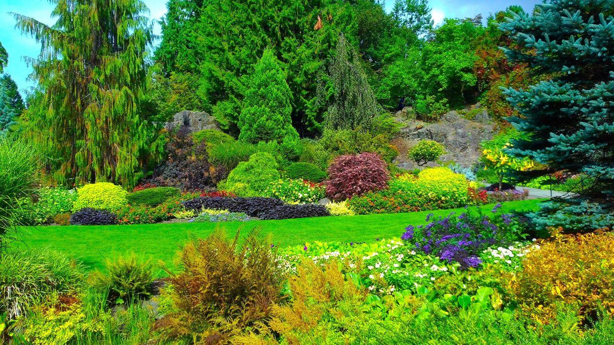 Canada Gardens Lawn Trees Shrubs Fir Queen Elizabeth Garden Nature wallpaper