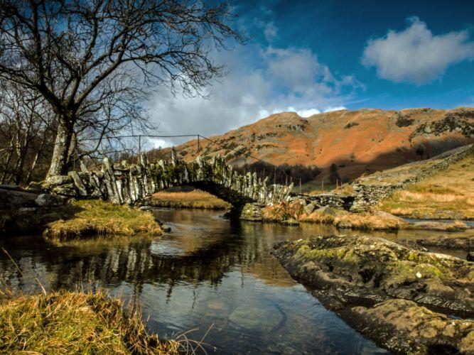 England Rivers Bridges Trees River Brathay Nature wallpaper