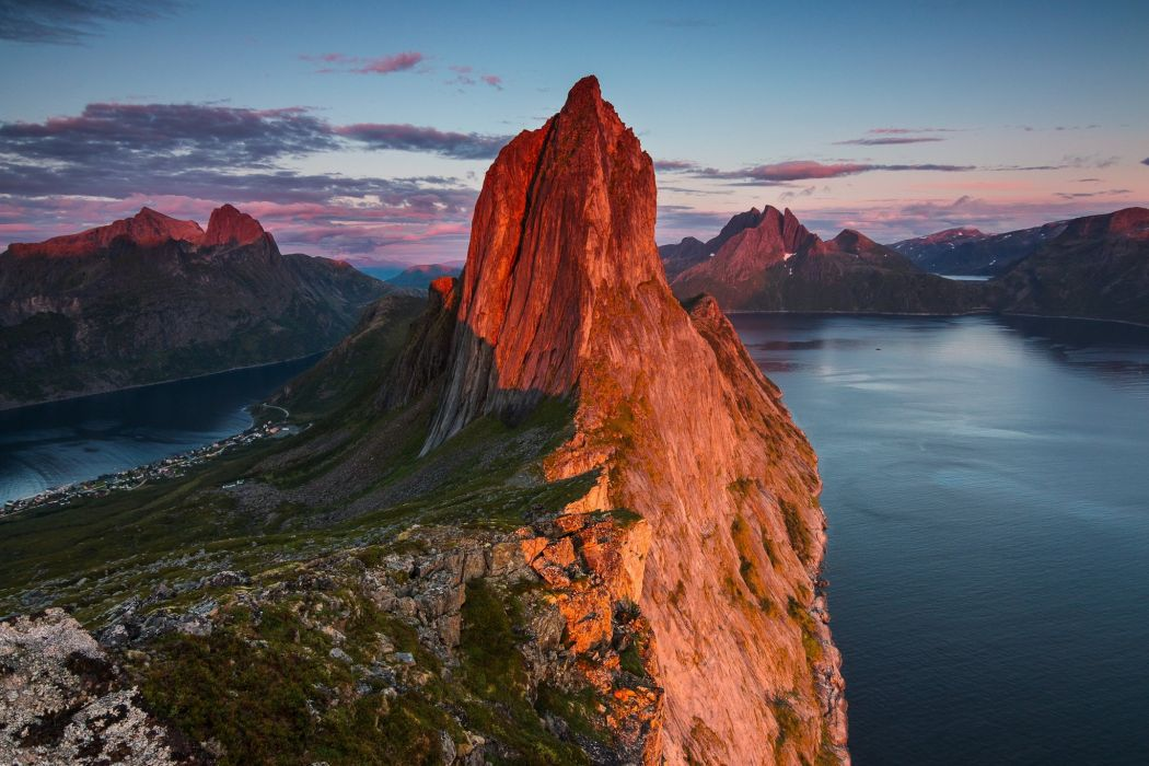 Mountains Norway Evening Crag Nature wallpaper