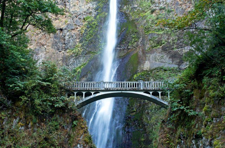 USA Waterfalls Bridges Moss Crag Multnomah waterfalls Nature wallpaper