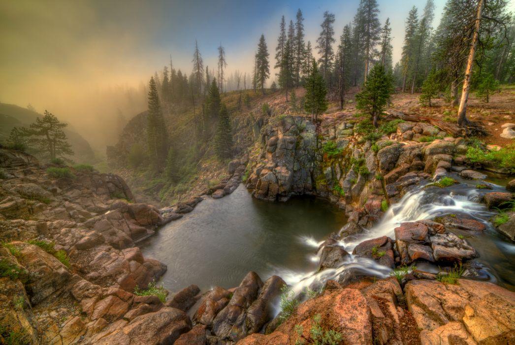USA Waterfalls Lake California Canyon Fir Webber Falls Nature wallpaper