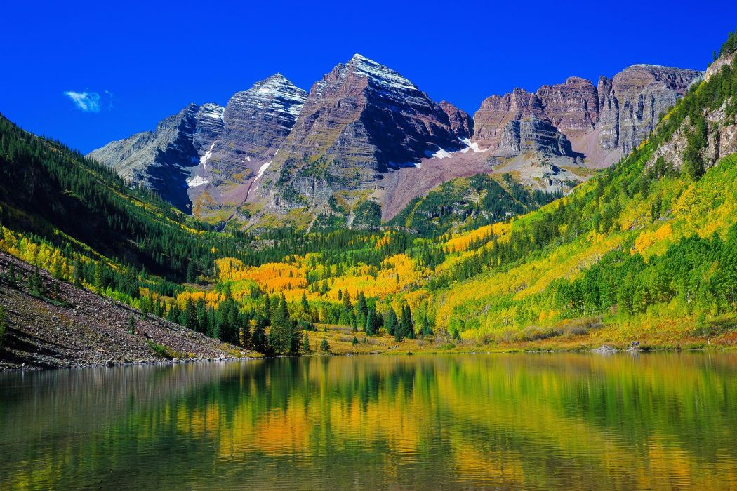 Mountains Lake Forests Scenery USA Maroon Bells Colorado Nature wallpaper