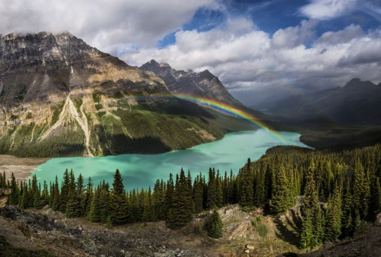 Mountains Scenery Forests Lake Canada Rainbow Nature wallpaper