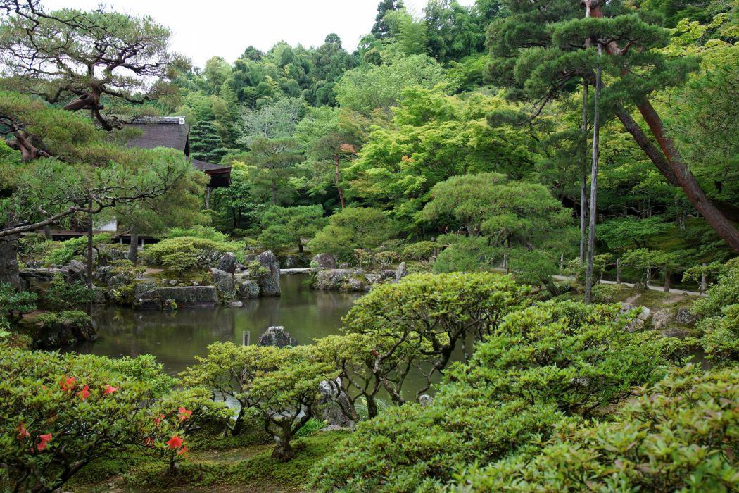 Japan Gardens Pond Trees Shrubs Kyoto Nature wallpaper